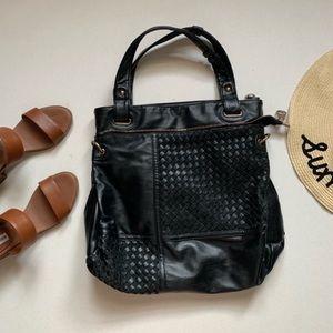 Segolene Paris   Black Vegan Leather Woven Tote